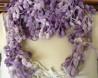 scarf, scarflette, lariat, wedding accessory, special occasion, purple, two tone, special present, knitted, crochet, knitted jewellery