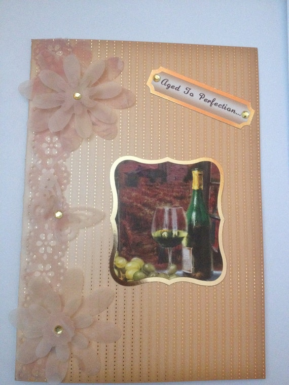 unique handmade greetings card birthday card any occasion card wine lovers card hand made flower card blank card own sentiments card