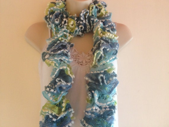 was 25 dollars now only 20  scarf, handknit scarf, blue, tourquoise,green with white edging, spring,summer,winter or autumn scarf