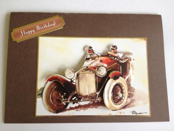 fathers birthday dad happy birthday card fantastic father, car card, daddys card,