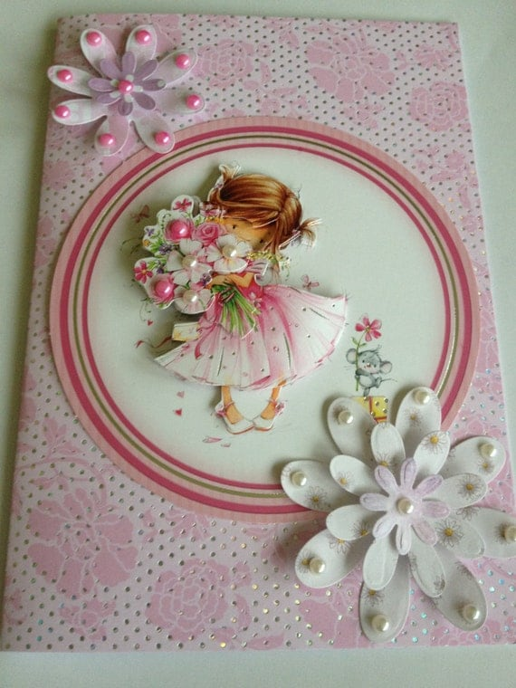 girls card, pink card,beads card, special occasion card, daughter card, mothers card, pink pearls, white pearls, with love