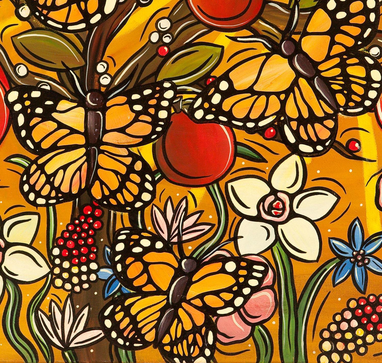 Autumn Monarch Butterflies Art Print Butterfly Kitchen Decor