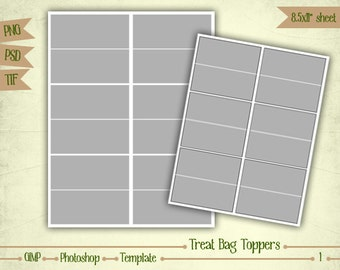 Treat Bag Toppers - Digital Collage Sheet Layered Template - (T001)