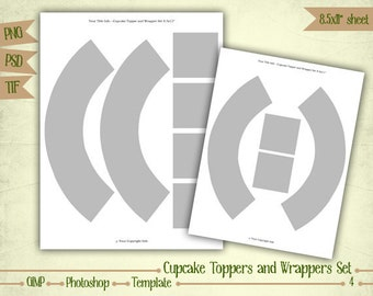 Cupcake Toppers and Wrappers Set - Digital Collage Sheet Layered Template - (T004)