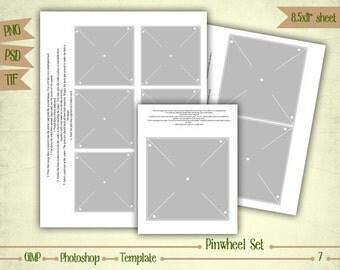 Pinwheel Set - Digital Collage Sheet Layered Template - (T007)