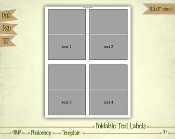 Foldable Tent Labels - Digital Collage Sheet Layered Template - (T010)