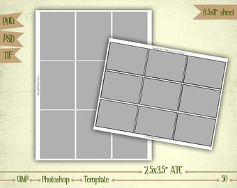"2.5x3.5"" ATC - Digital Collage Sheet Layered Template - (T050)"