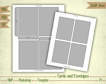Cards and Envelopes - Digital Collage Sheet Layered Template - (T024)