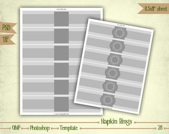 Napkin Rings - Digital Collage Sheet Layered Template - (T028)