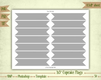 Cupcake Flags - Digital Collage Sheet Layered Template - (T054)