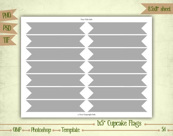 etsy shop policies template - cupcake flags digital collage sheet layered by eudanedigital