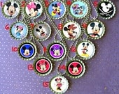 Minnie and Mickey Mouse theme party bottle cap necklace Party Favor pack (12) / contact me for other quantities needed