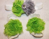 Lime green & grey shabby chiffon heaband and footless sandals set