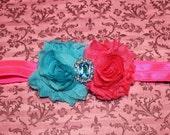 Hot pink & turquoise shabby chiffon flowers on hot pink headband with rhinestone