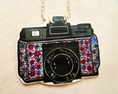 Colourful Camera necklace - shrink plastic, hand illustrated, silver plated ball chain
