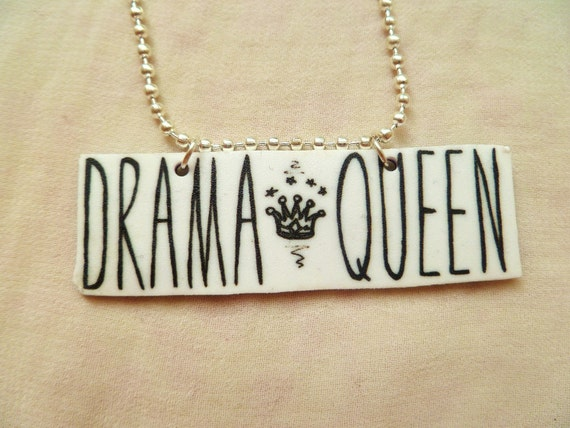 """The """"Drama Queen"""" necklace - shrink plastic, hand illustrated, silver plated ball chain"""