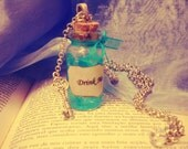 Drink Me Bottle - Alice in Wonderland - Cute Vial Necklace - Skeleton Key