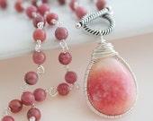 Pink Rhondonite Necklace - Bezel Set Necklace - Gemstone Chain