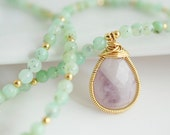 Chrysoprase Necklace, Chrysoprase Necklace with Amethyst Pendant, Purple and Green Necklace - Bezel Set Necklace