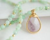 Chrysoprase Necklace, Chrysoprase Necklace with Amethyst Pendant, Purple and Green Necklace - Bezel Set Necklace