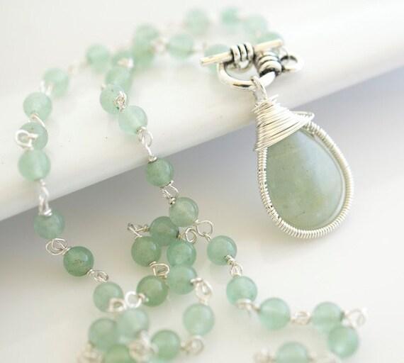 Aquamarine Necklace - Bezel Set Necklace - Gemstone Necklace