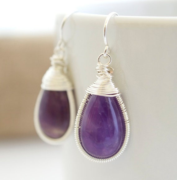 Purple Earrings - Amethyst Earrings - Bezel Set Earrings