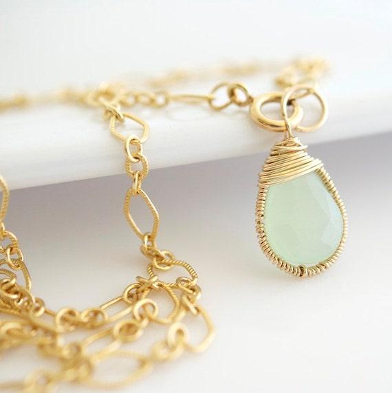 Green Chalcedony Necklace Necklace - Gemstone Necklace - Bezel Set Necklace