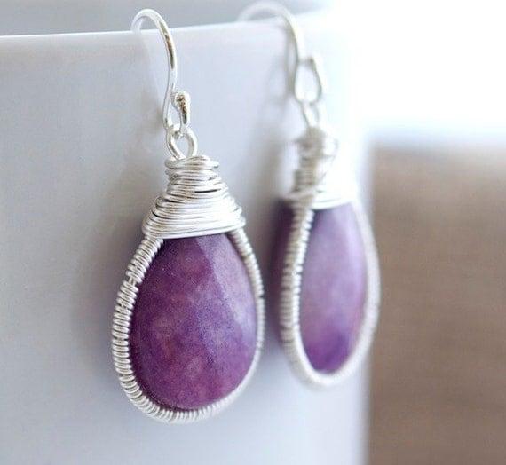 Purple Earrings - Wire Wrapped Earrings - Bezel Set Earrings