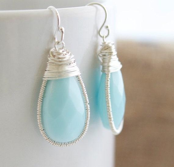 Turquoise Earrings- Wire Wrapped Earrings - Bezel Set Earrings