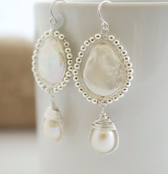 Pearl Earrings - Wire Wrapped Earrings - Bezel Set Earrings - Bridal Jewelry