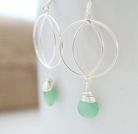 Silver Earrings with Wire Wrapped Green Quartz