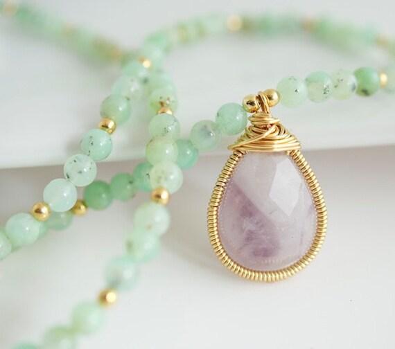 Chrysoprase Necklace - Chrysoprase Necklace with Amethyst Pendant - Purple and Green Necklace - Bezel Set Necklace