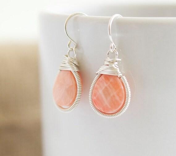 Coral Earrings- Wire Wrapped Earrings - Bezel Set Earrings