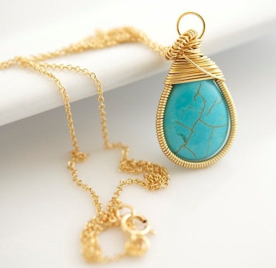 Turquoise Necklace - Wire Wrapped Necklace