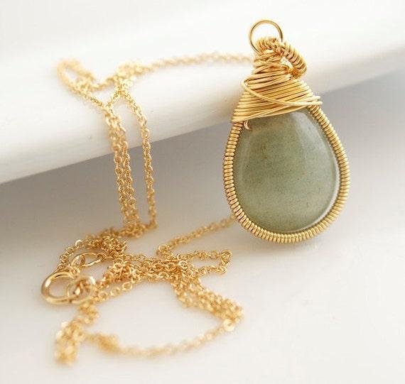 Aquamarine Necklace, Wire Wrapped Necklace, Bezel Set Necklace
