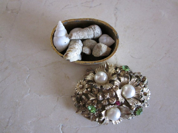 Vintage Small Florenza Trinket Box Full of Tiny Fossils   Metal w/ Faux Jewels & Pearls  1950s