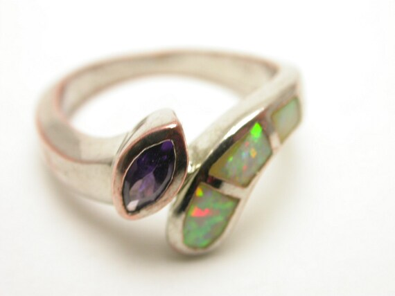 Silver plated ring with opal and purple amethyst stones