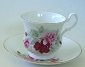 Royal Heritage Bone China Tea Cup &  Saucer with Roses and Dogwood