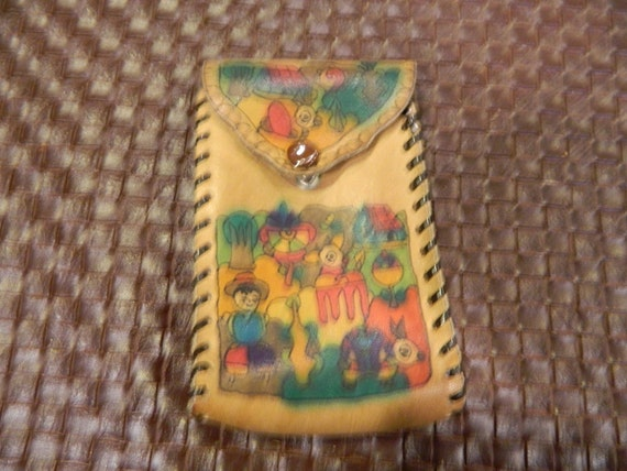 Vintage Handpainted Mexican Leather Pouch