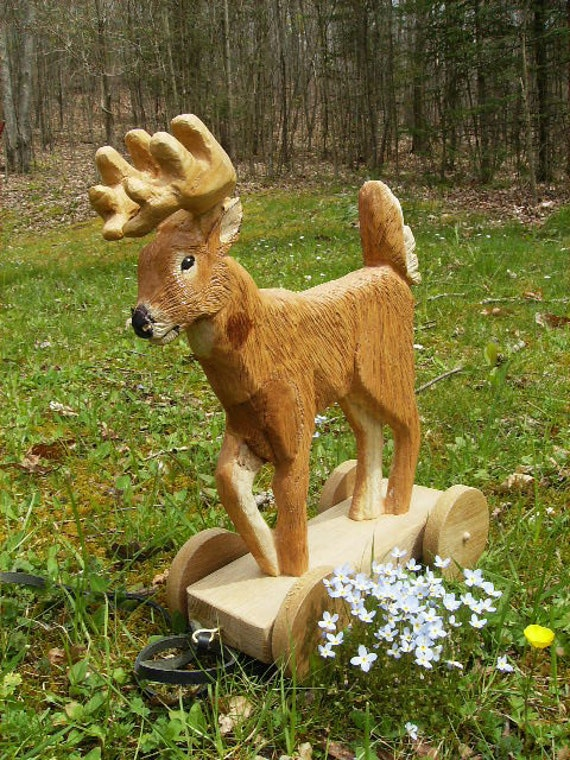Hand Carved Mountain Wildlife Pull Toy