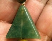 Beautiful Green Stone(most likely adventurine:) with Tiger Eye Handmade Healing Reiki Pendant