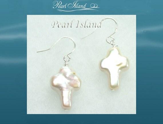 Freshwater Pearl Earrings - Enigma White Cross Pearl Earrings