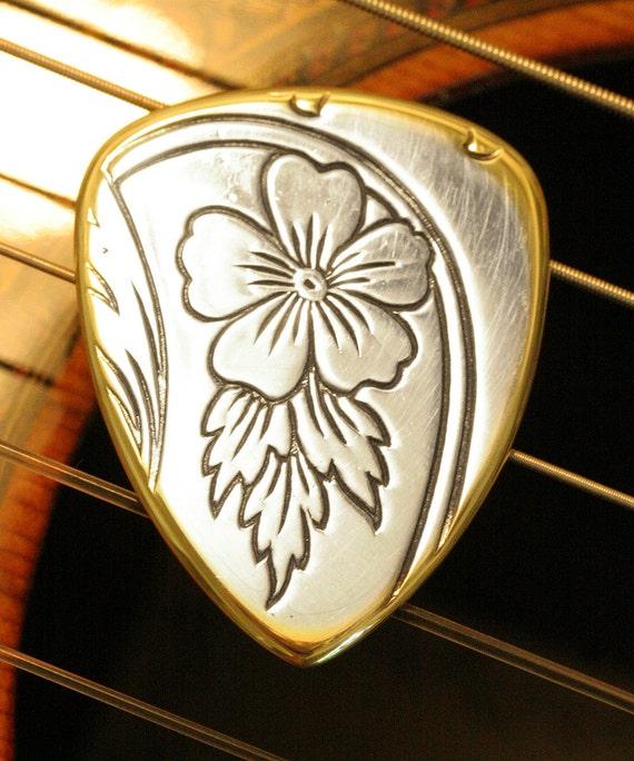 "Handmade Artisan Silver and Brass ""Desert Flower"" GUITAR PICK for Acoustic and Electric Guitar, Bass, Mandolin, Ukulele"