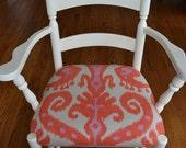 White Wood Armchair in Coral & Lavendar Ikat Print