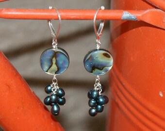 Abalone Fresh Water Pearl Cluster Earrings