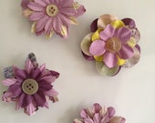 Spring Beauties Set of Four Paper Flower Magnets
