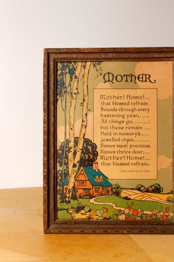 Mother Poem Print - Wall Hanging - 1900s