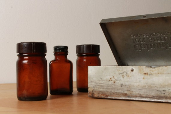 RESERVED FOR ANIKO Steel Tool Box - with Apothecary Bottles