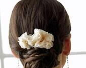 Lila Bridal Hair Comb - Double Chiffon Flower Comb