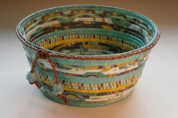 Handmade paper basket/bowl - Turquoise brown and gold shades, small 5 inch diameter